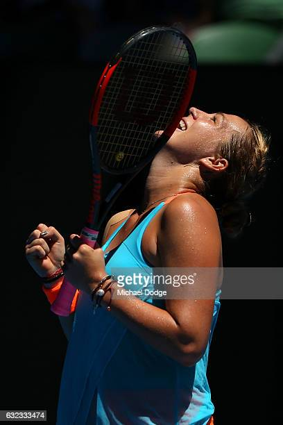 Anastasia Pavlyuchenkova of Russia celebrates winning her fourth round match against Svetlana Kuznetsova of Russia on day seven of the 2017...