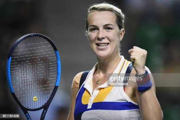 Anastasia Pavlyuchenkova of Russia celebrates winning her quarter final match against Barbora Strycova of Czech Republic on day five of the Toray Pan...