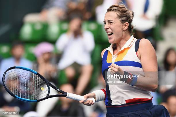 Anastasia Pavlyuchenkova of Russia celebrates winning her semi final match against Angelique Kerber of Germany during day six of the Toray Pan...