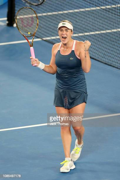 Anastasia Pavlyuchenkova of Russia celebrates winning match point in her fourth round match against Sloane Stephens of the United States during day...