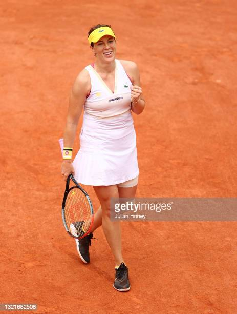 Anastasia Pavlyuchenkova of Russia celebrates winning match point during her Women's Singles third round match against Aryna Sabalenka of Belarus...