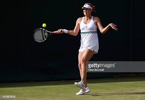Anastasia Pavlyuchenkova of Russia hits a forehand return during her Ladies' Singles second round match against Varvara Lepchenko of USA on day four...