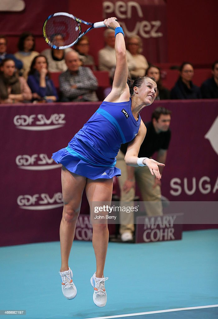 Anastasia Pavlyuchenkova of Russia in action against Sara Errani of Italy during the final of the 22nd Open GDF Suez held at the Stade de Coubertin on February 2, 2014 in Paris, France.