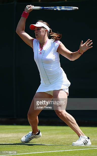 Anastasia Pavlyuchenkova of Russia in action during the second round match against Nadia Petrova of Russia on Day Four of the Wimbledon Lawn Tennis...