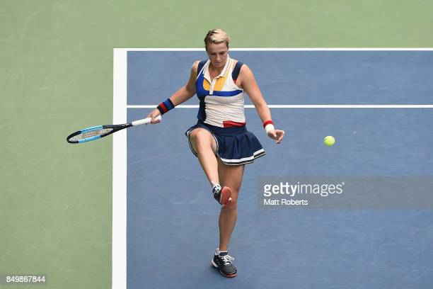 Anastasia Pavlyuchenkova of Russia kicks the ball in her match against Qiang Wang of China during day three of the Toray Pan Pacific Open Tennis At...