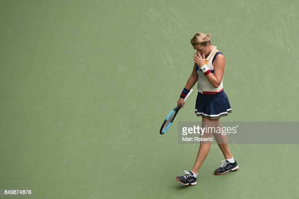 Anastasia Pavlyuchenkova of Russia looks dejected in her match against Qiang Wang of China during day three of the Toray Pan Pacific Open Tennis At...