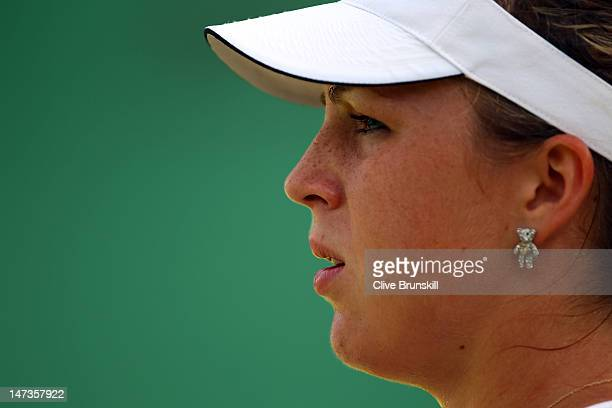 Anastasia Pavlyuchenkova of Russia looks on during her Ladies' Singles second round match against Varvara Lepchenko of USA on day four of the...