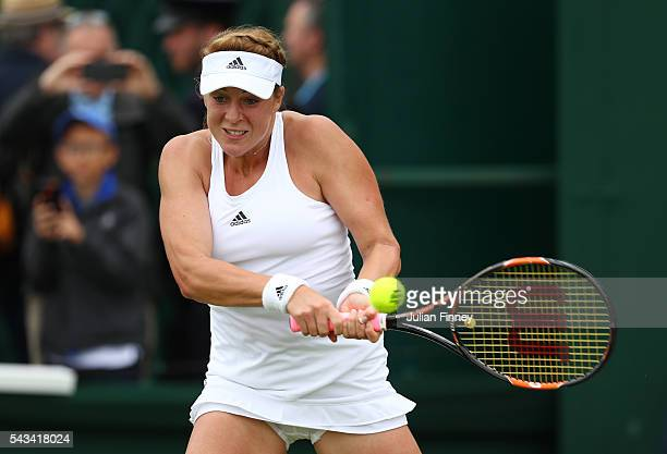 Anastasia Pavlyuchenkova of Russia plays a backhand during the Ladies Singles first round match against SuWei Hsieh of Taiwan plays a forehand on day...