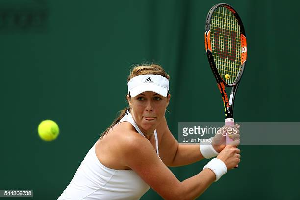 Anastasia Pavlyuchenkova of Russia plays a backhand during the Ladies Singles third round match against Timea Bacsinszky of Switzerland on Middle...