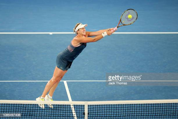 Anastasia Pavlyuchenkova of Russia plays a backhand in her fourth round match against Sloane Stephens of the United States during day seven of the...