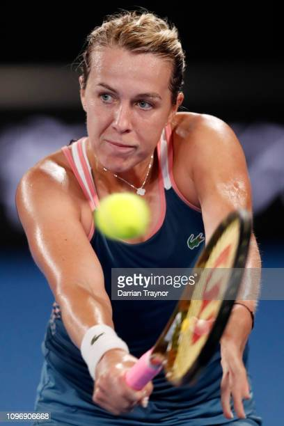 Anastasia Pavlyuchenkova of Russia plays a backhand in her fourth round match against Sloane Stephens of the USA during day seven of the 2019...