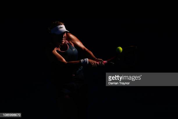 Anastasia Pavlyuchenkova of Russia plays a backhand in her quarter final match against Danielle Collins of the United States during day nine of the...