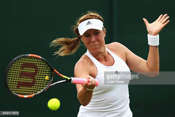 Anastasia Pavlyuchenkova of Russia plays a forehand during the Ladies Singles first round match against SuWei Hsieh of Taiwan plays a forehand on day...