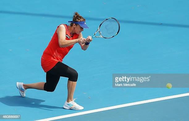 Anastasia Pavlyuchenkova of Russia plays a forehand in her first round match against Alison Riske of the USA during day two of the Moorilla Hobart...