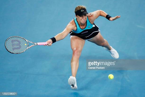 Anastasia Pavlyuchenkova of Russia plays a forehand in her fourth round match against Angelique Kerber of Germany on day nine of the 2020 Australian...
