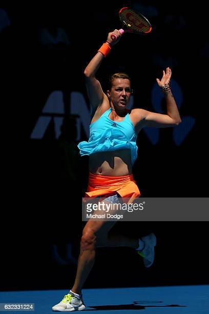 Anastasia Pavlyuchenkova of Russia plays a forehand in her fourth round match against Svetlana Kuznetsova of Russia on day seven of the 2017...