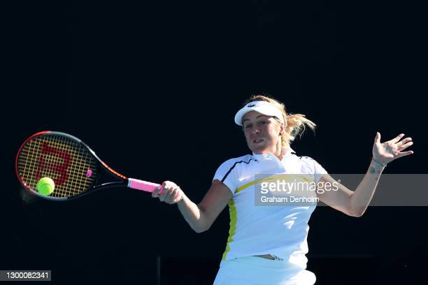 Anastasia Pavlyuchenkova of Russia plays a forehand in her match against Garbine Muguruza of Spain during day four of the WTA 500 Yarra Valley...