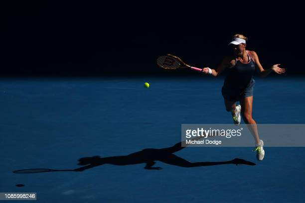Anastasia Pavlyuchenkova of Russia plays a forehand in her quarter final match against Danielle Collins of the United States during day nine of the...