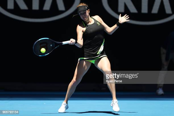 Anastasia Pavlyuchenkova of Russia plays a forehand in her second round match against Kateryna Bondarenko of Ukraine on day three of the 2018...