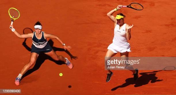 Anastasia Pavlyuchenkova of Russia plays a forehand in her Semi-Final Women's Singles match against Tamara Zidansek of Slovenia during Day Twelve of...