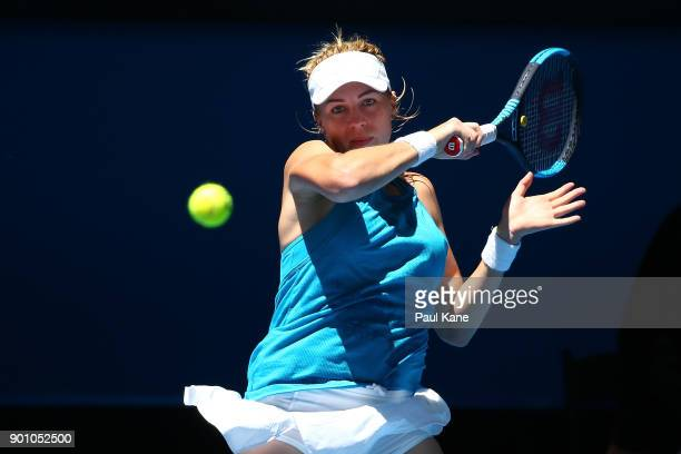 Anastasia Pavlyuchenkova of Russia plays a forehand in her singles match against Naomi Osaka of Japan on day six of the 2018 Hopman Cup at Perth...