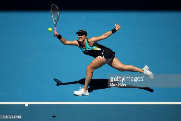 Anastasia Pavlyuchenkova of Russia plays a forehand point during her Women's Singles third round match against Karolina Pliskova of Czech Republic on...