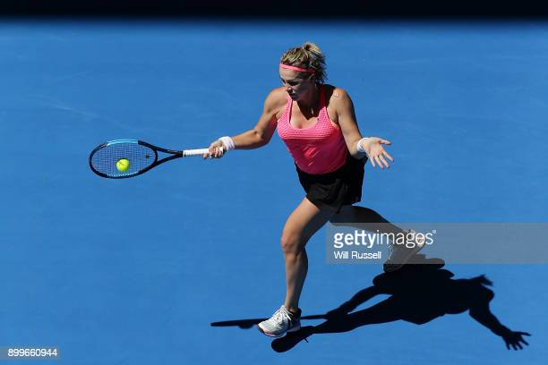 Anastasia Pavlyuchenkova of Russia plays a forehand to Coco Vandeweghe of the United States in the womens singles match on day one of the 2018 Hopman...
