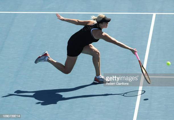 Anastasia Pavlyuchenkova of Russia plays a shot during her singles match against Vera Lapko of Belgium during day three of the 2019 Hobart...
