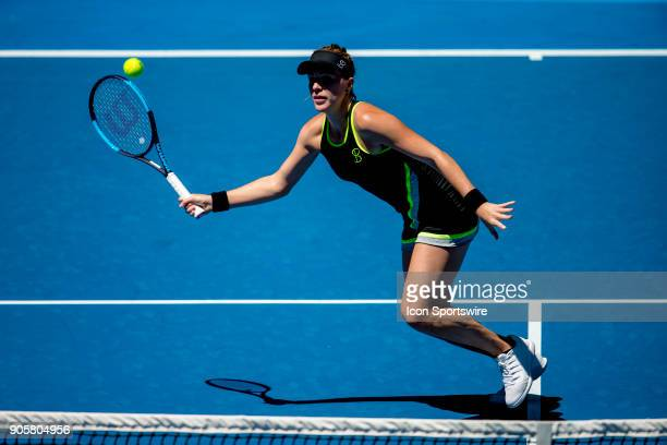 Anastasia Pavlyuchenkova of Russia plays a shot in her second round match during the 2018 Australian Open on January 17 at Melbourne Park Tennis...