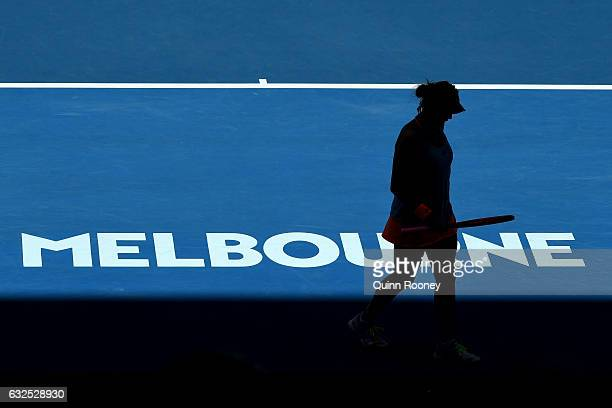 Anastasia Pavlyuchenkova of Russia prepares to serve in her quarterfinal match against Venus Williams of the United State on day nine of the 2017...