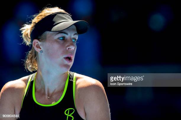 Anastasia Pavlyuchenkova of Russia prepares to serve in her second round match during the 2018 Australian Open on January 17 at Melbourne Park Tennis...