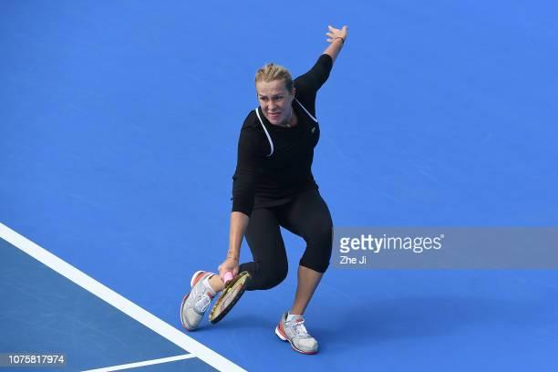 Anastasia Pavlyuchenkova of Russia reacts against Ana Bogdan of Romania during the women's singles 1st Round match on main draw day 1 of the 2019 WTA...