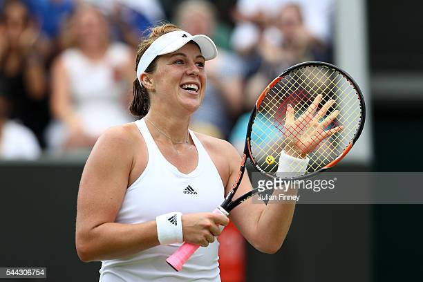 Anastasia Pavlyuchenkova of Russia reacts during the Ladies Singles third round match against Timea Bacsinszky of Switzerland on Middle Sunday of the...