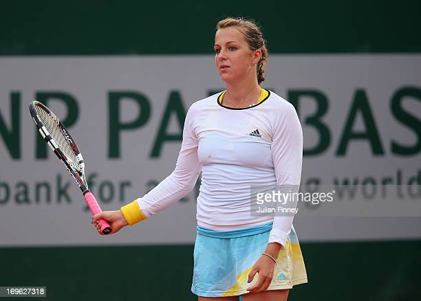 Anastasia Pavlyuchenkova of Russia reacts in her Women's Singles match against Petra Cetkovska of Czech Republic during day four of the French Open...