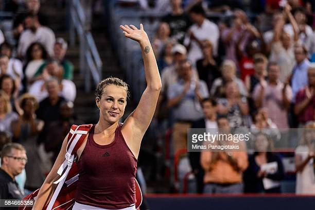 Anastasia Pavlyuchenkova of Russia salutes the fans after her defeat against Madison Keys of the United States during day five of the Rogers Cup at...