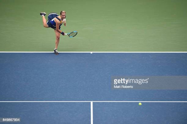 Anastasia Pavlyuchenkova of Russia serves against Qiang Wang of China during day three of the Toray Pan Pacific Open Tennis At Ariake Coliseum on...