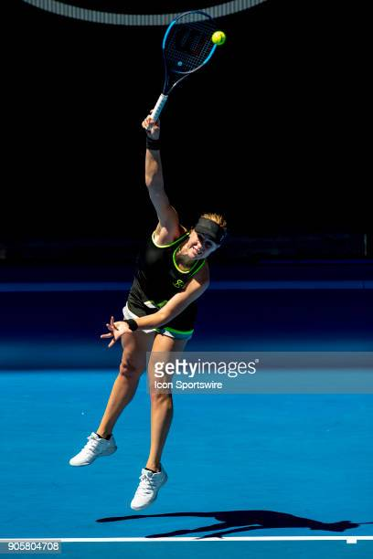 Anastasia Pavlyuchenkova of Russia serves in her second round match during the 2018 Australian Open on January 17 at Melbourne Park Tennis Centre in...