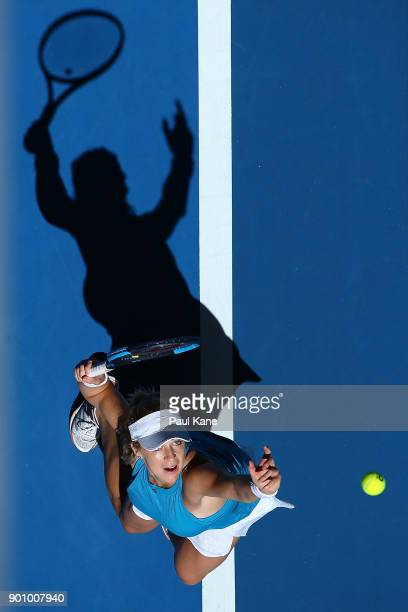 Anastasia Pavlyuchenkova of Russia serves in her singles match against Naomi Osaka of Japan on day six of the 2018 Hopman Cup at Perth Arena on...