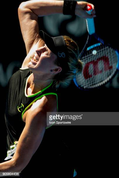 Anastasia Pavlyuchenkova of Russia serves the ball in her second round match during the 2018 Australian Open on January 17 at Melbourne Park Tennis...