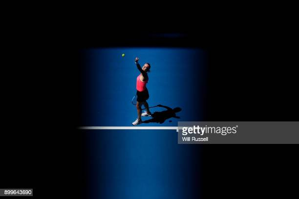 Anastasia Pavlyuchenkova of Russia serves to Coco Vandeweghe of the United States in the womens singles match of the 2018 Hopman Cup at Perth Arena...