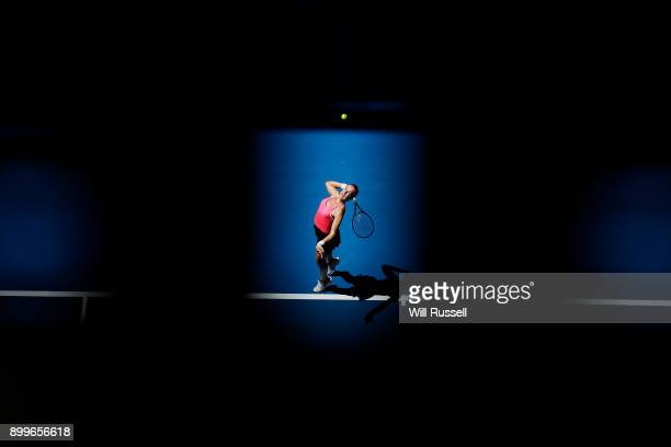 Anastasia Pavlyuchenkova of Russia serves to Coco Vandeweghe of the United States in the womens singles match on day one of the 2018 Hopman Cup match...