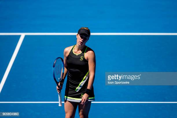 Anastasia Pavlyuchenkova of Russia shows her dismay in her second round match during the 2018 Australian Open on January 17 at Melbourne Park Tennis...