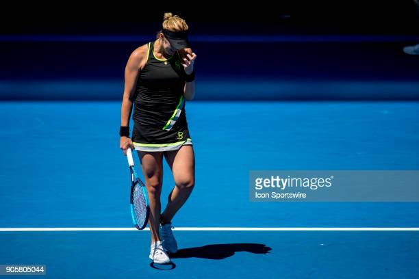 Anastasia Pavlyuchenkova of Russia shows her frustration in her second round match during the 2018 Australian Open on January 17 at Melbourne Park...