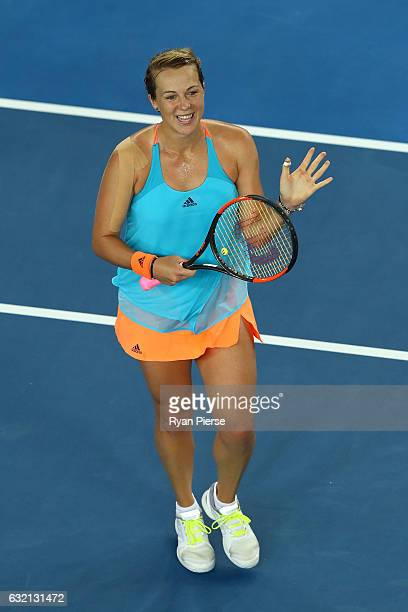 Anastasia Pavlyuchenkova of Russia thanks the crowd after winning her third round match against Elina Svitolina of the Ukraine on day five of the...