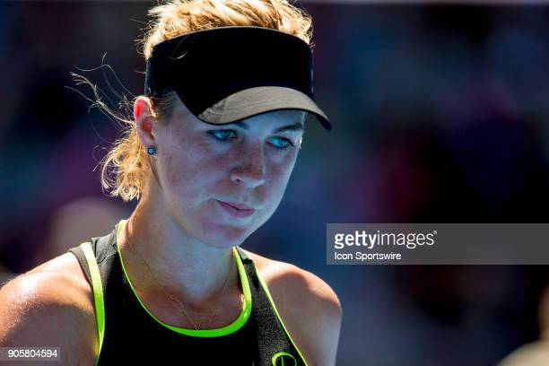Anastasia Pavlyuchenkova of Russia walks back to her players bench in her second round match during the 2018 Australian Open on January 17 at...