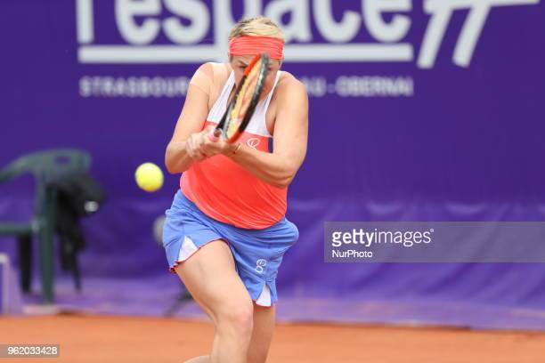 Anastasia Pavlyuchenkova plays against Natalia Vikhlyantseva during their WTA Open internaionaux de tennis de Strasbourg in Strasbourg on May 23, 2018