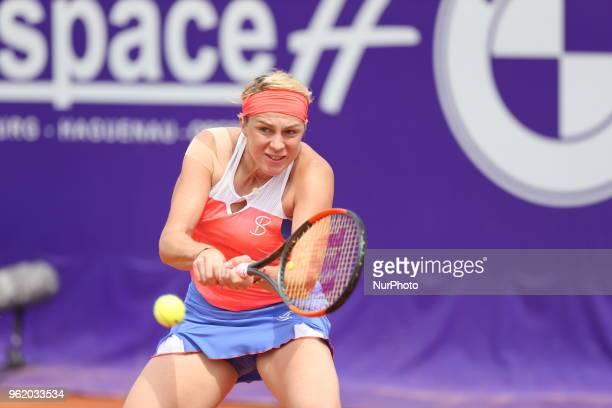 Anastasia Pavlyuchenkova plays against Natalia Vikhlyantseva during their WTA Open internaionaux de tennis de Strasbourg in Strasbourg on May 23, 2018