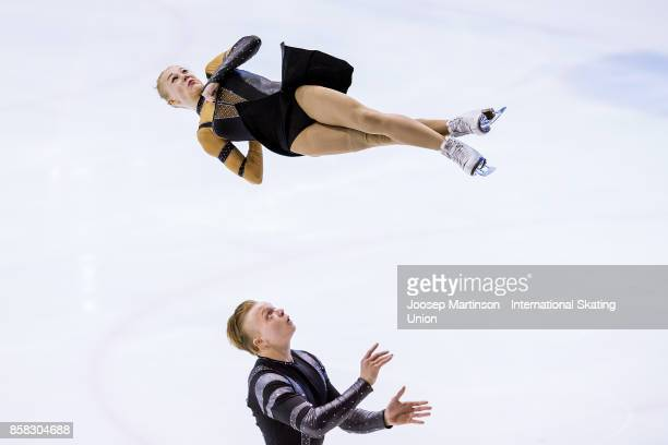 Anastasia Poluianova and Dmitry Sopot of Russia compete in the Pairs Free Skating during day two of the ISU Junior Grand Prix of Figure Skating at...