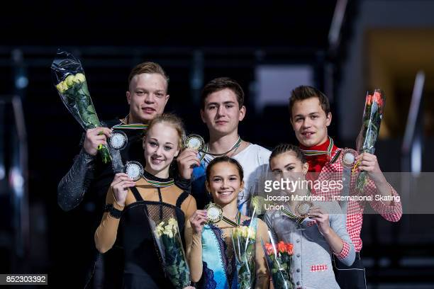 Anastasia Poluianova and Dmitry Sopot of Russia, Daria Pavliuchenko and Denis Khodykin of Russia and Apollinariia Panfilova and Dmitry Rylov of...