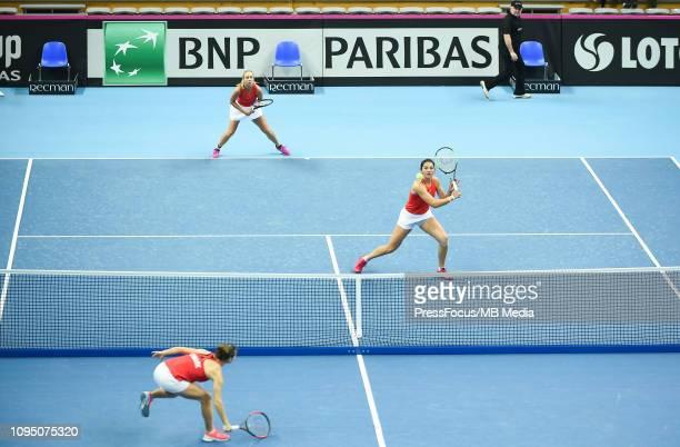 Anastasia Potapova and Margarita Gasparyan of Russia in action during their doubles match against Karen Barritza and Maria Jespersen of Denmark...